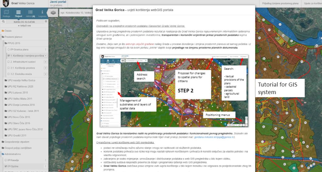 Implementation of webGIS system for citizens (Velika Gorica)