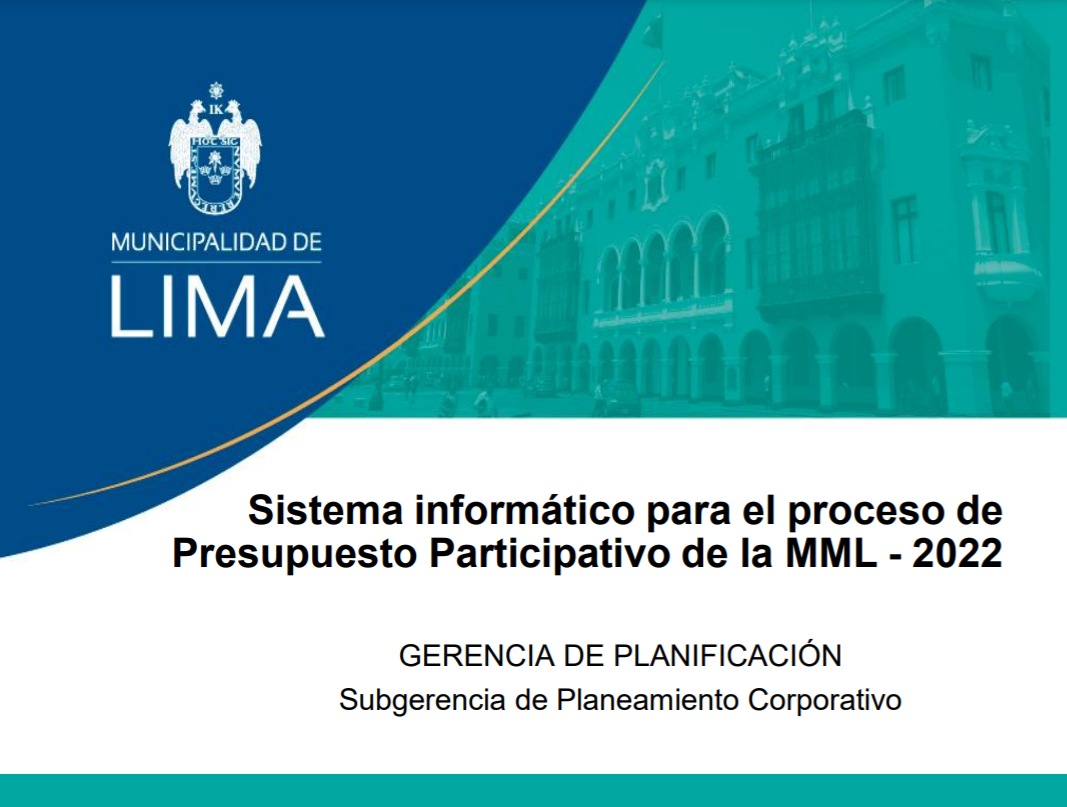 Systematization of the participatory budgeting process of the Metropolitan Municipality of Lima